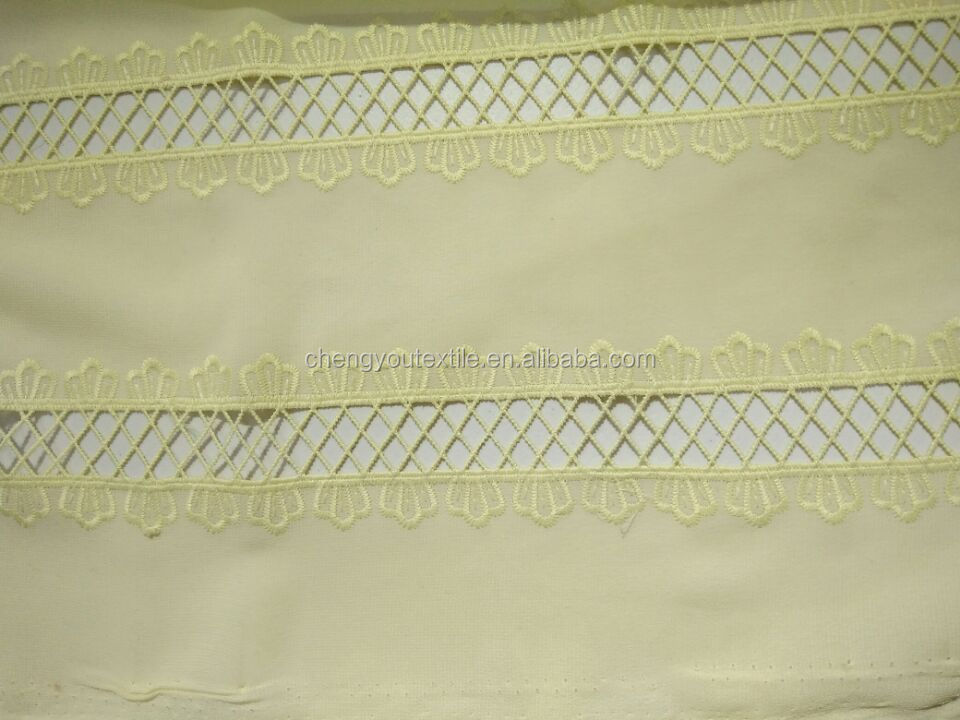 100% Poly Mesh with White Chiffon Tapes Embroidery Fabric