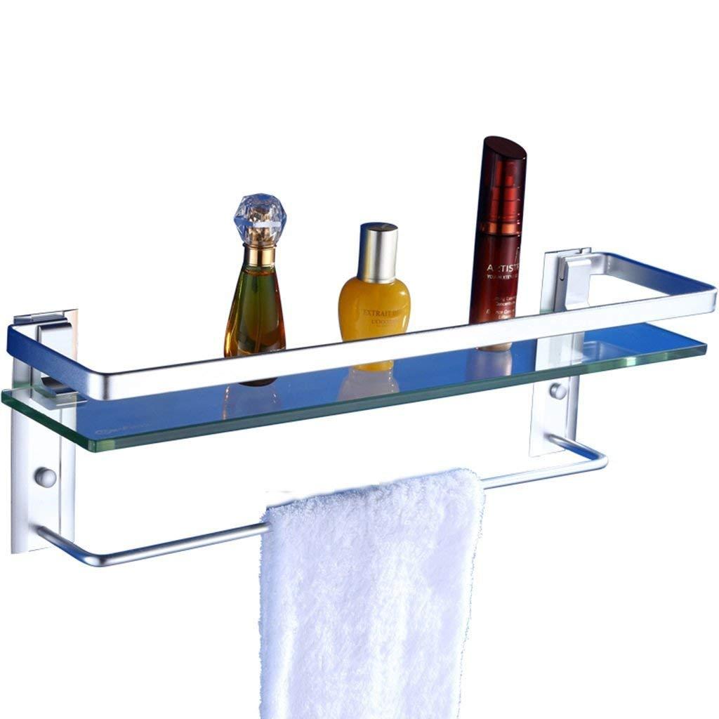 He Xiang Firm Shelf Bathroom Triangle Elevation Bathroom Shelf Storage Shelf Space Aluminum  Glass Wall Mount Thicker Single 8mm 40 50 60cm Shelf with towel bar (Size : 60cm)