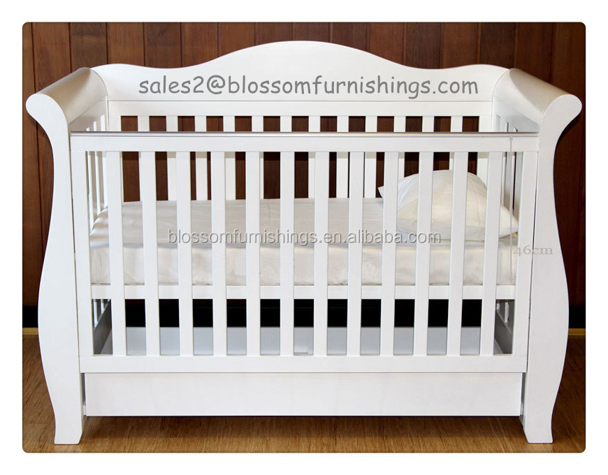 3 In 1 White Wooden Royal Style Sleigh Baby Cot Buy Wooden Baby Sleigh Cot Sleigh Cot Baby