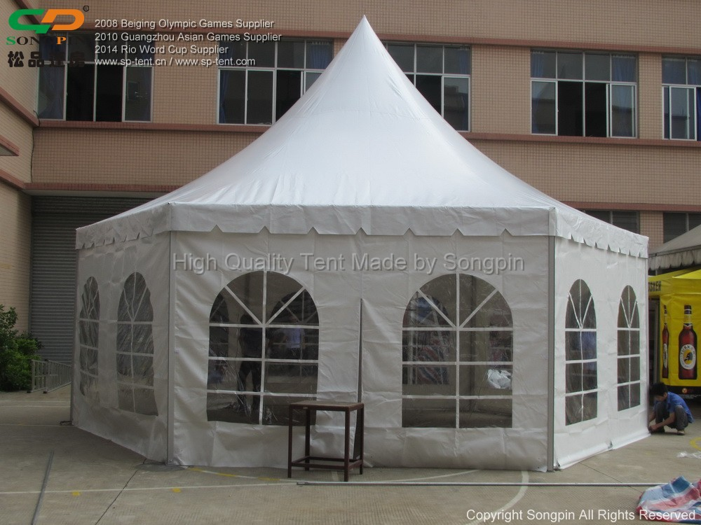 Big Aluminum Hexagonal Marquee Tent With Pvc Windows For