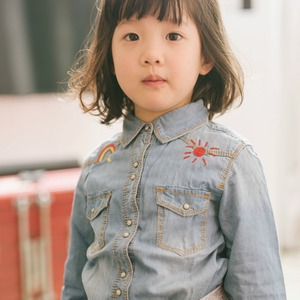 Latest design children's wear clothes boys girls denim shirts with rainbow and sun for sale