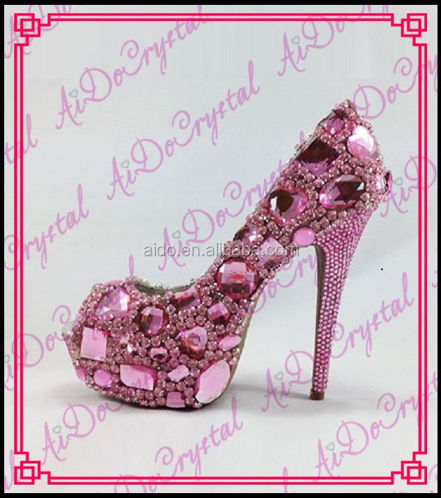 Aidocrystal 2015 Party Large Jewelry Diamonds Womens High Heels Pumps Fashionable Baby Pink Shining Wedding high heels
