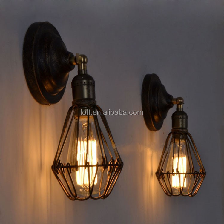 Creative Industrial Rusty Transformable Iron Cage Wall Lamp With ...