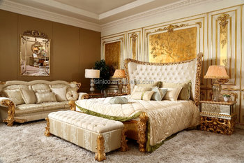 French Empire 24k Gold Plated/gold Leaf Wooden King/queen Size Bed ...