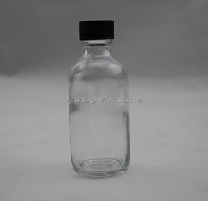 Clear Boston Round Glass Bottles 2oz With Phenolic Caps For Essential oil