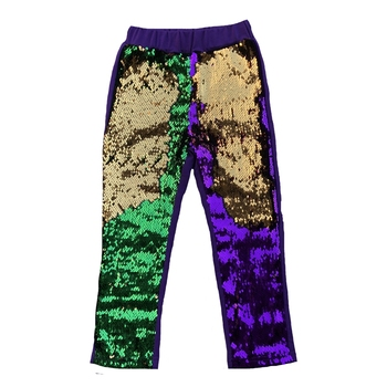 Mardi Gras New Orleans hippie Reversible dancer leggings gold สีเขียว mermaid sequin flip กางเกงสำหรับหญิง