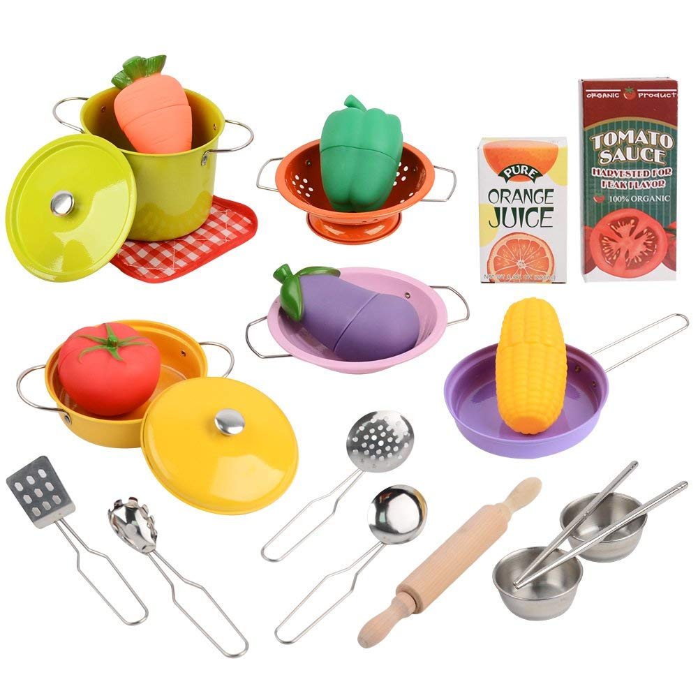 Toytree Children Pretend Play Miniature Cooking Toys Stainless Steel and Plastic Toy Kitchen Accessories for Kids
