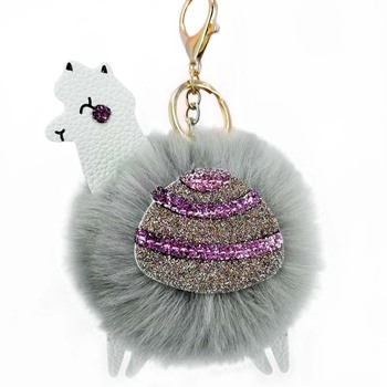 Wholesale keychains key holder PU leather faux fox fur ball keychain mini plush animal alpaca keychain