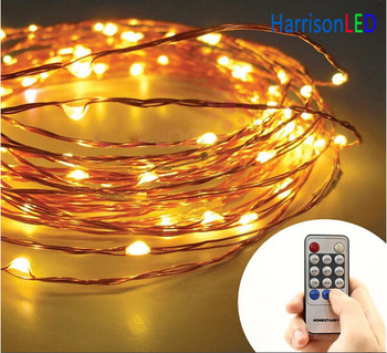 rf remote control invisible fairy moon copper silver wire led christmas string lights