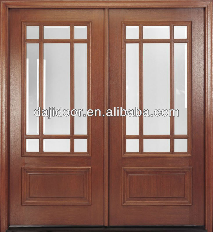 Glass Inserts Wooden Double Panel Doors Design For Kitchen Dj S9180m