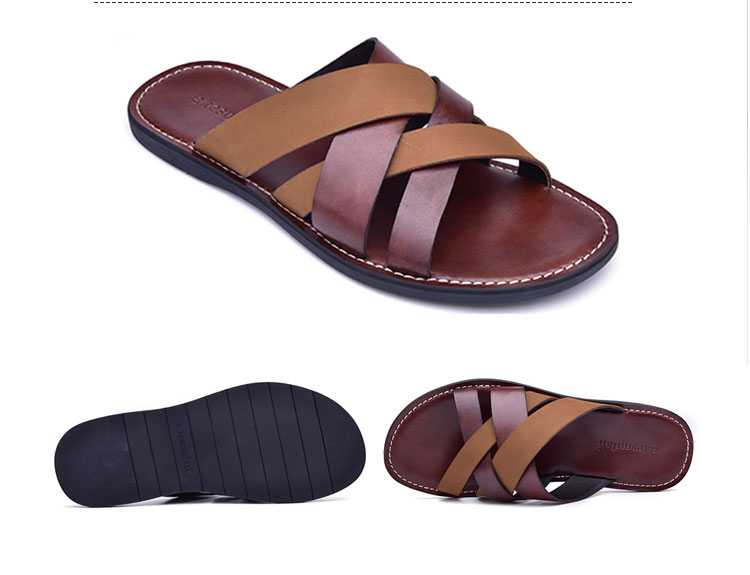 9d670cdd2d729 high class 2019 custom cow skin slipper shoes leather mens sandal shoe  leather fashion slippers from