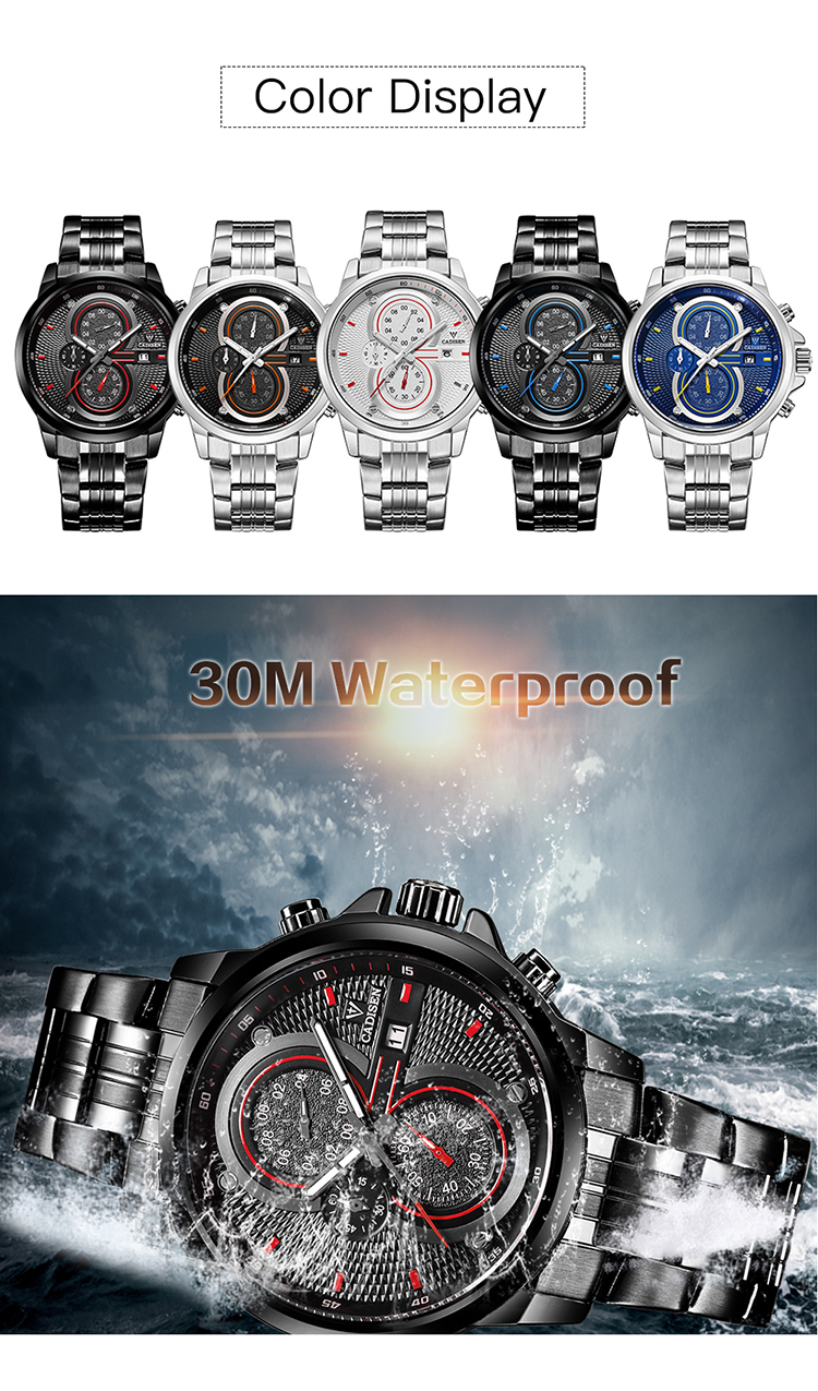 New Watches Cadisen 9054 Full steel band mens chronograph military watch 3ATM Waterproof watch men homage