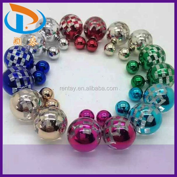 Christmas and Halloween New Women UV Plastic Pearl Fashion Double Stud Earrings