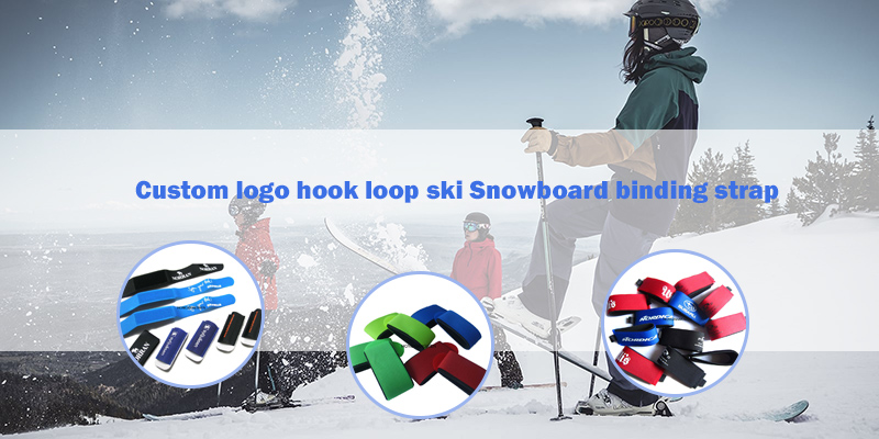 High quality Durable custom logo rubber ski strap/hook and loop strap