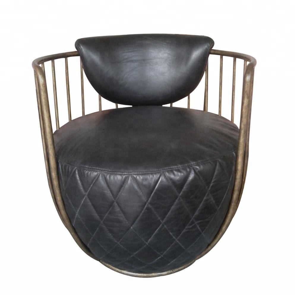 Ronda de moda de marco de acero de hierro antiguo de ocio de cuero genuino sillón giratorias de oficina/Hotel/muebles para el hogar