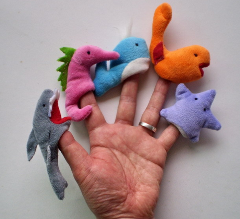 wholesale lovely custom mini sea animal soft fabric baby funny finger puppet toys