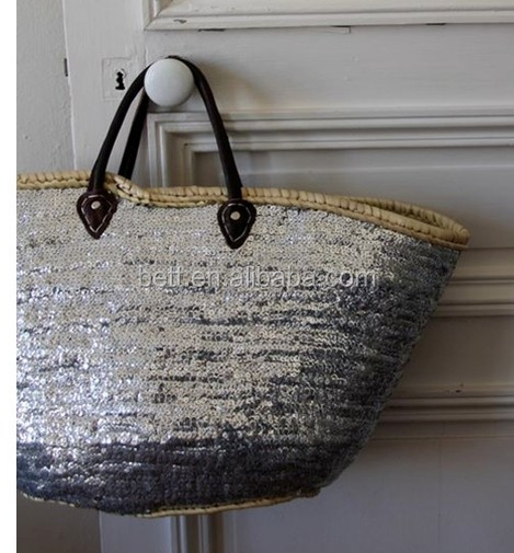 Cheap Shining Lady Sequin Paper Straw Beach Bags - Buy Straw Beach ...