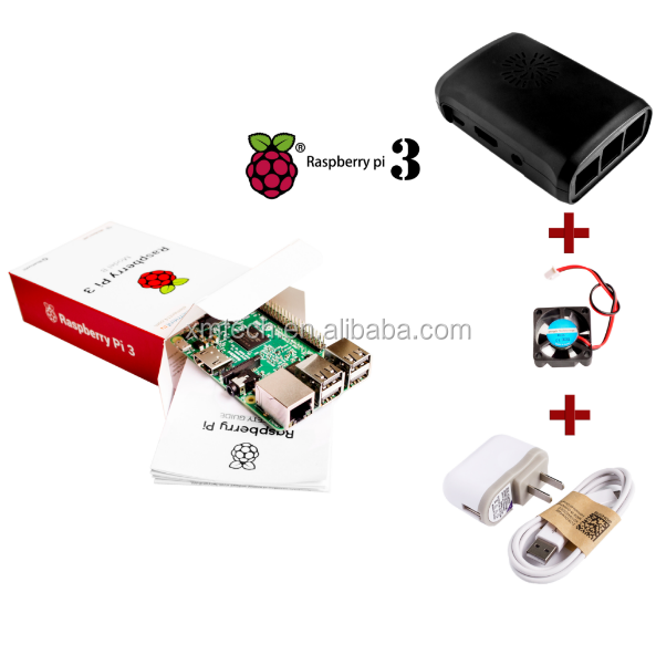 Hot Raspberry Pi 3 Model B Board 1GB LPDDR2 Quad-Core WiFi & Bluetooth + Black ABS Case + 5V 2.5A Power Adapter+ CPU Cooling Fan