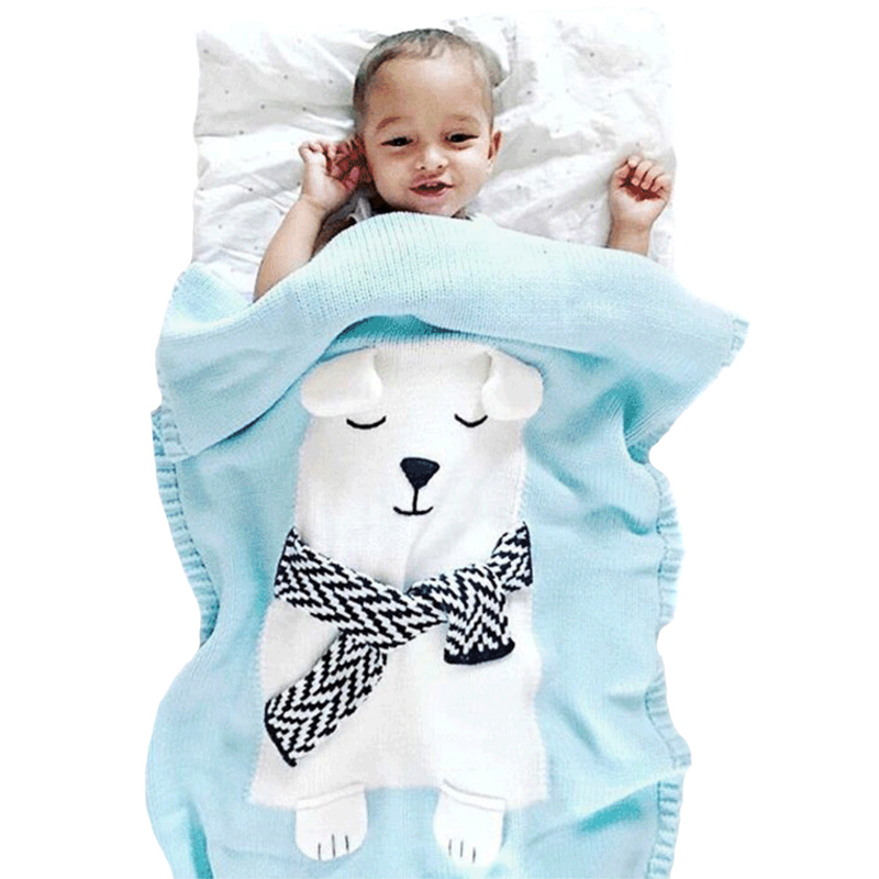 Knitting Baby Blanket Flamingos Knitted Infant Toddler Children Blanket for Girls Boys Super Soft Stroller Baby Bedding Blanket