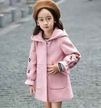 Осенне-зимнее шерстяное пальто для девочек, розовая, красная, с рукавами-фонариками, для детей 4, 6, 8, От 10 до 12 лет, 2019(Китай)