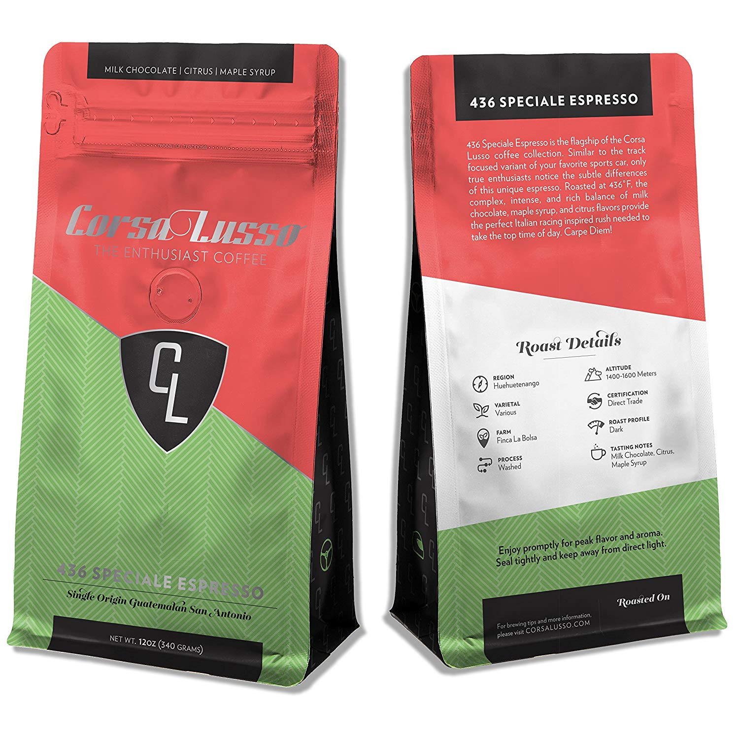 Corsa Lusso: The Enthusiast Coffee, Whole Bean, 12oz - 436 Speciale Espresso - Cars & Coffee, Coffee for Car Enthusiasts, Specialty Coffee, Great Gift for Car Lovers!