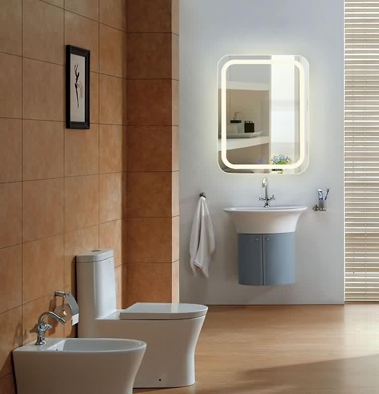 Norhs rectangle contemporary illuminated led lighted bathroom mirror for bathroom wall designs