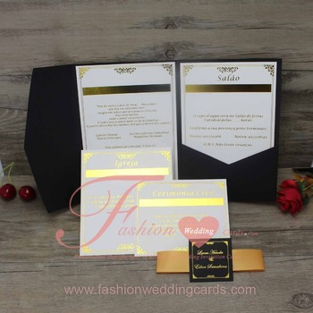 Royal Black Luxury Pocketfold Wedding Invitations With Small Rsvp Cards