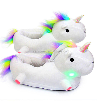 eb8ee4a69da Personality LED Light UP Unicorn Indoor Slippers For Girls and Women Boys  Soft Fluffy Non-