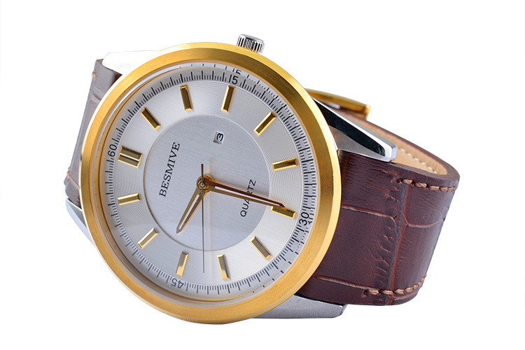 OEM wrist watch men japan movt quartz watch gold case leather watch