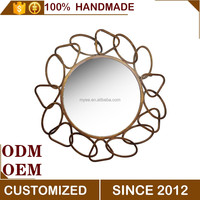 metal framed decorative round metal flowers wall art hanging mirrors