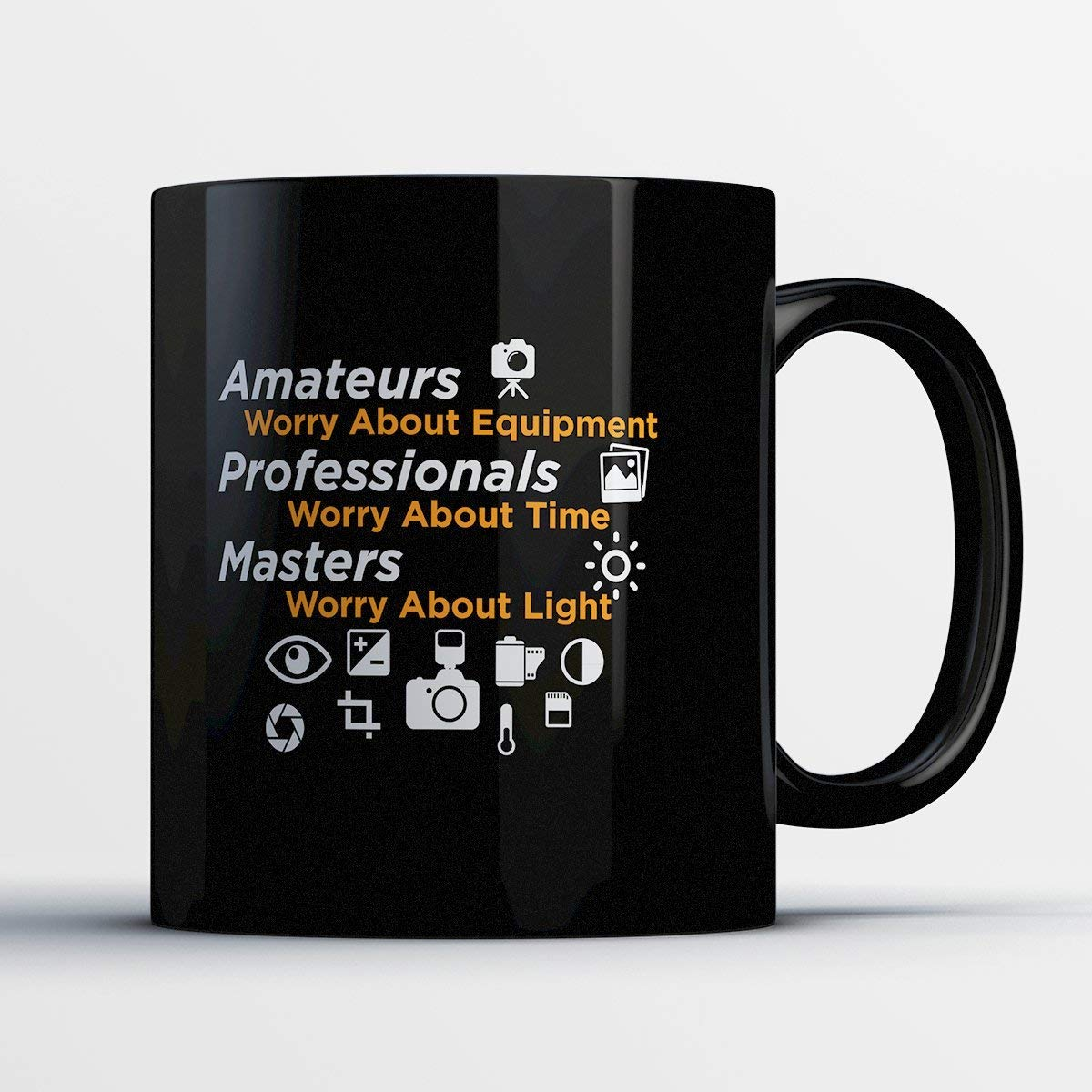 Photographer Coffee Mug - Masters Worry About Light - Adorable 11 oz Black Ceramic Tea Cup - Cute Photographer Gifts with Photographer Sayings