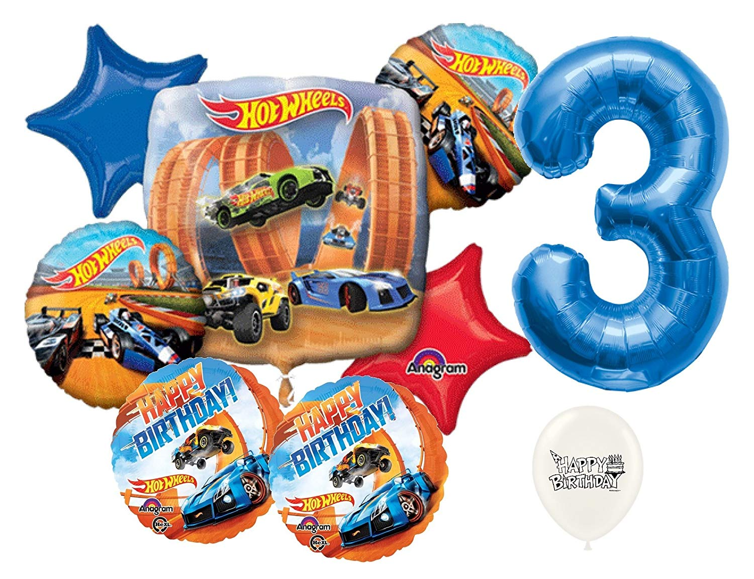 Get Quotations Blue Number 3rd Birthday Hot Wheels Racing Cars Party Decorations Balloon Bouquet Bundle
