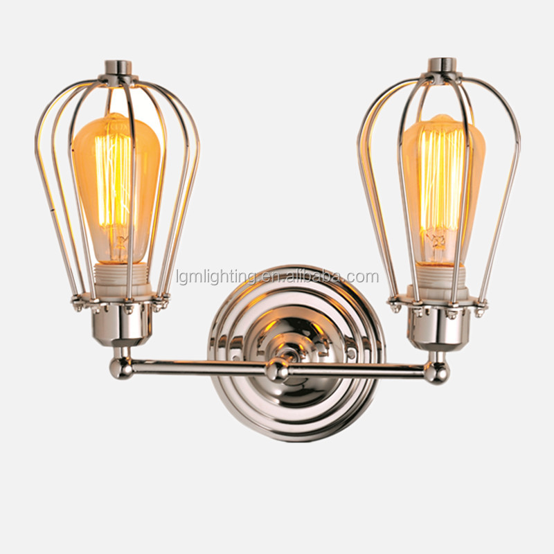 E27 double head wall sconce wrought iron wall lighting fixtures reading lamps wall mounted cheap