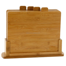 Bamboo Cutting Boards- Four All Natural Index Chopping Board Set with Non-Slip Base