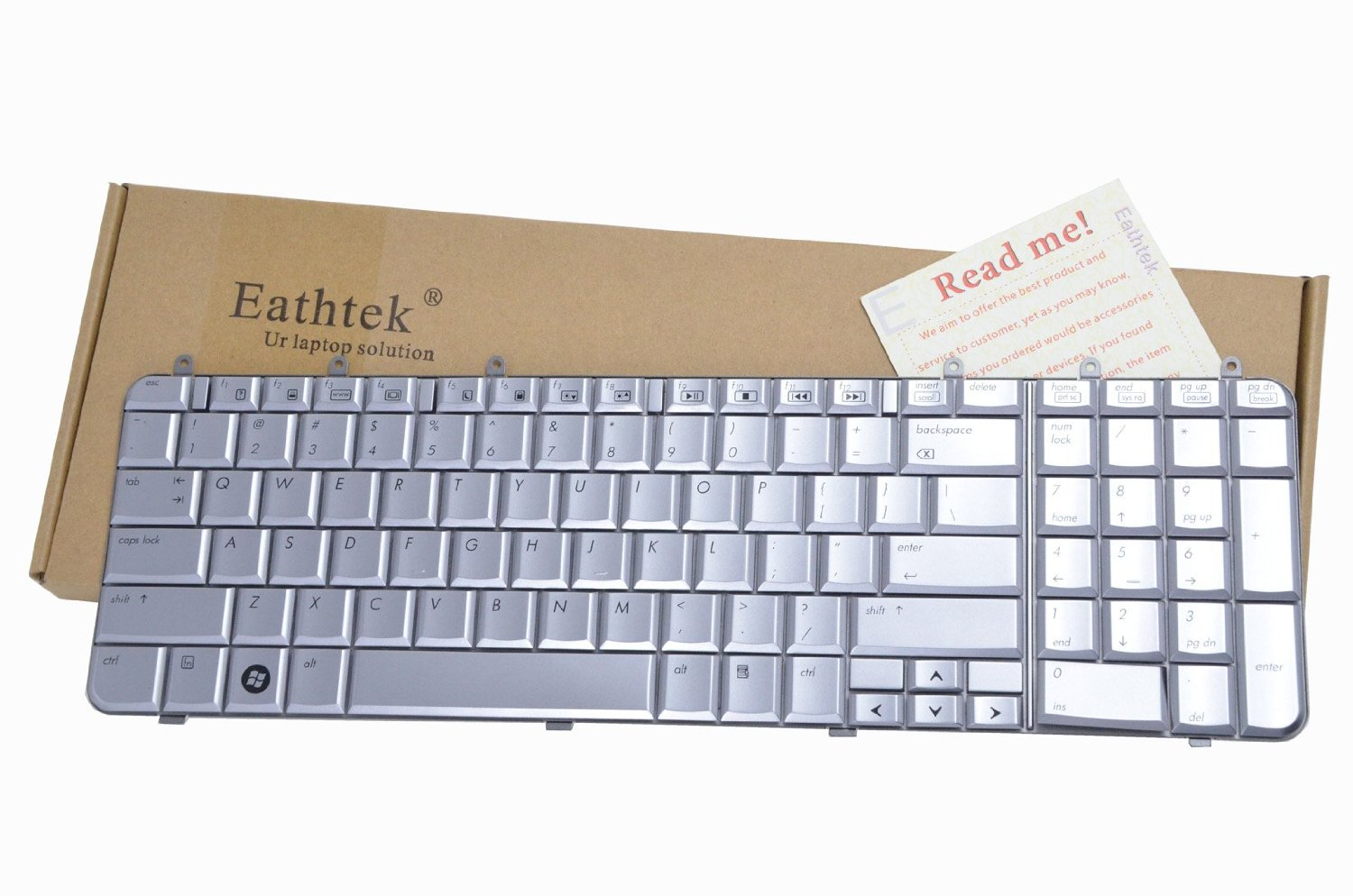 Eathtek Laptop Replacement Keyboard for HP Pavilion dv7 dv7-1100 dv7-1451nr dv7-1464nr dv7-1468nr dv7t-1200 dv7t-1100 dv7t-1000 dv7-1000 DV7-1245DX SK-H8101 PK1303X0500 series Silver US Layout