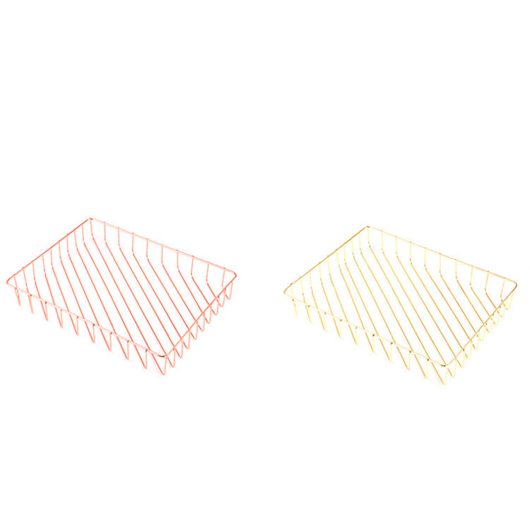 Wholesale office desk organizer golden large size metal wire tray