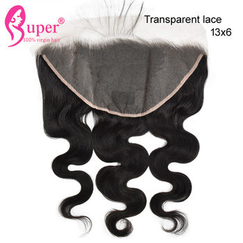 Pre Plucked Straight 100 % Brazilian Human Hair With Transparent 13x6 Lace Frontal Closure