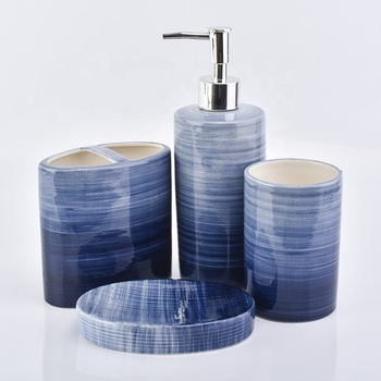 4ps Blue circle gradient pattern ceramic bathroom set soap dish toothbrush holder hotel decor