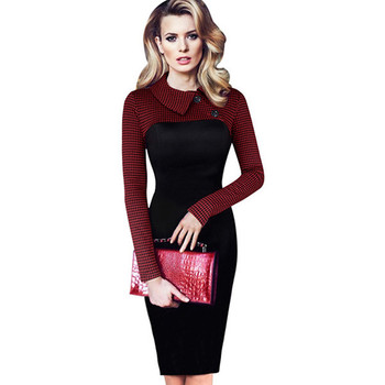 Plus Size Casual Women Sexy Elegant Houndstooth Party Career Office