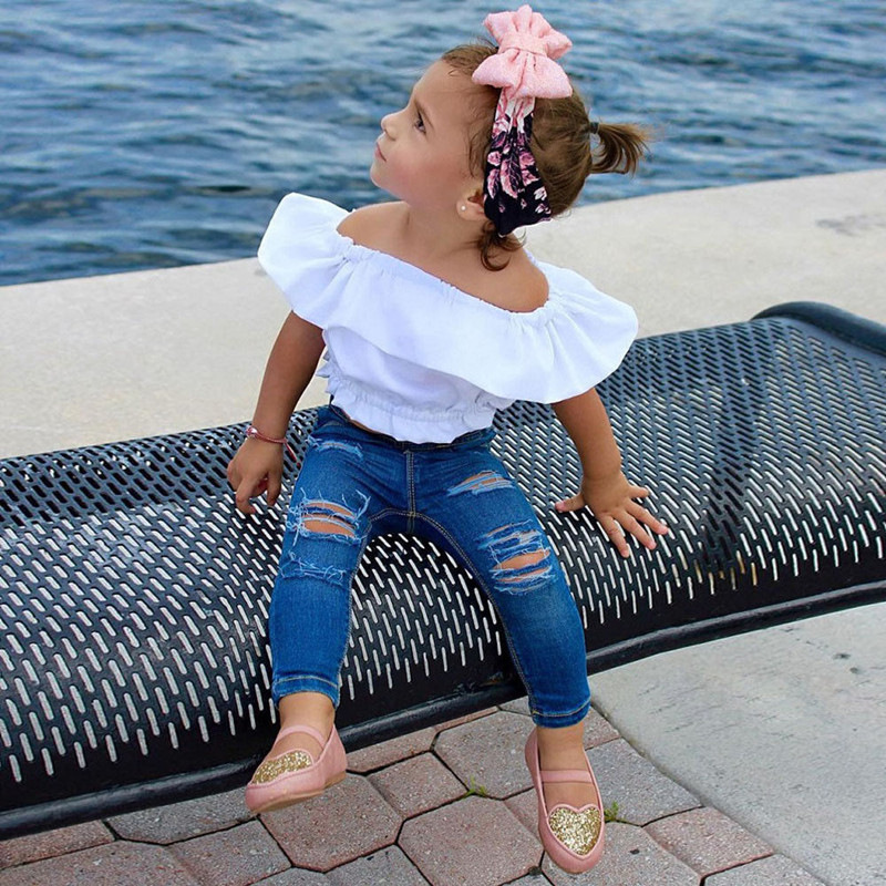 60add2d97220 2018 Trendy Kids Clothes Girls Boutique Clothing White Off Shoulder ...