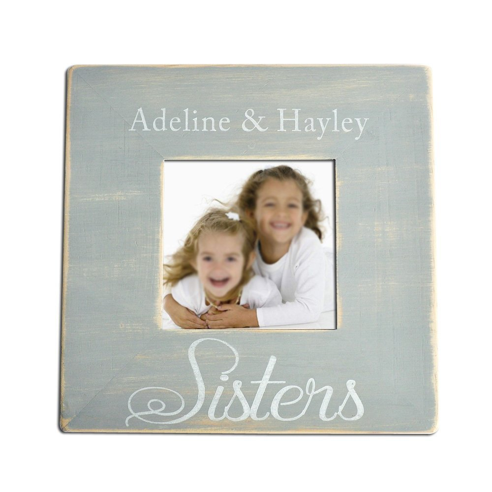 "LOVEhandmade Personalized Sisters Picture Frame, Wooden Photo Frame, Custom Picture Frame, Family Wooden Picture Frame, Gift for Family, Picture Frame 3.5""x3.5"""