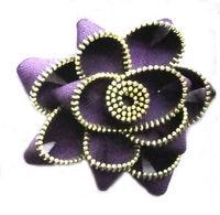 Boutique purple fake Zipper flower, garment or shoes decoration flower