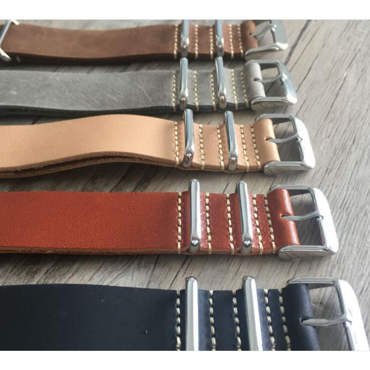 Custom Nato 18/20/22/24mm Replaceable Zulu Strap Crazy Horse Leather Watch Band