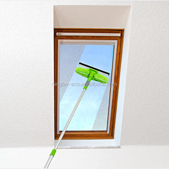 Window Cleaning Clean Washing Microfiber Squeegee Double used Glass cleaning tools window brush with telescopic Handle