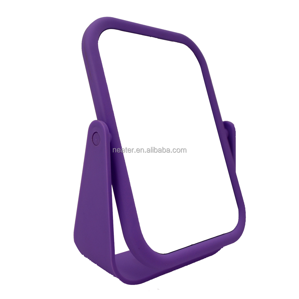 Square Plastic Frame Free Standing Mirror, Soft Touch Beauty Make Up Mirror,  Desktop Table