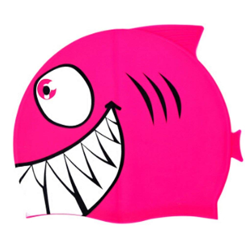 Cute Cartoon Animal Shark Silicone Swim Caps for Youth Kids Waterproof Non-slip Elastic Silicone Earmuffs Wrap Non-toxic Allergy-free Eco-friendly Swimming Hats Cover for Girls Boys 3-12Yrs