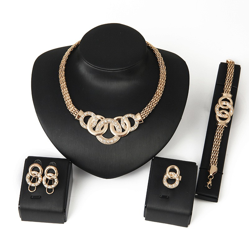 4pcsset Chain Rose Gold Plated Short Statement Necklace Sets