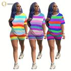 A060003 wholesale rainbow stripe casual woman fashion 2019 summer clothing two piece short set