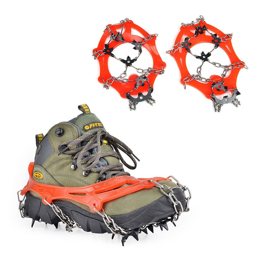 Jogging MoKo 19 Spikes Ice Crampon Outdoor Footwear Traction Cleats Protect Safe Anti-Slip Snow Grip for Walking Trekking and Mountaineering Hiking
