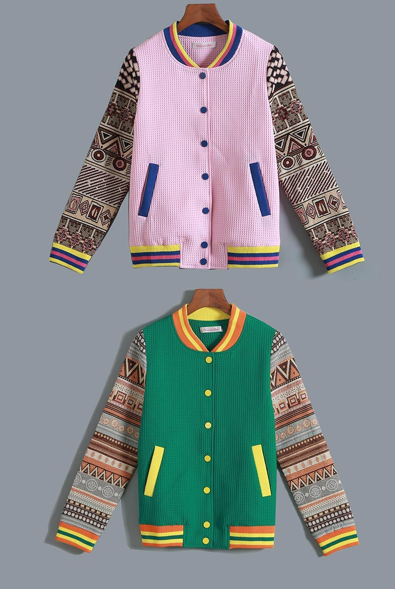 STKKOO Wholesale In Stock OEM Style Color Block Print Patchwork Single Breasted Casual Loose Jacket